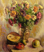 Still life with a bouquet of asters. Oil painting