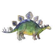 cartoon dinosaur Stegosaurus in watercolor style