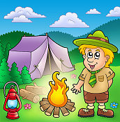 Small scout with fire and tent