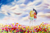 Watercolor painting landscape of love couple on daisy flowers.