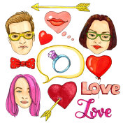Set of valentines day icons. Love stickers for creative design