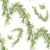 Watercolor illustration of bamboo leaves , seamless pattern