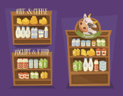 Dairy products set with supermarket shelves