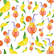 Seamless pattern of hand painted watercolor tropical juice and lemons.