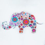 Sketch of beautiful elephant made flowers on a white background.
