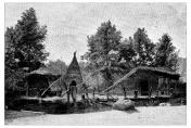 Antique illustration of ancient lake village