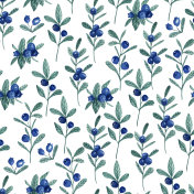Seamless white pattern with blueberry