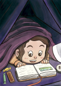 Child Hiding Beneath the Blanket Reading a Picture Book (White Girl)