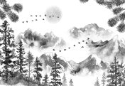 Ink Landscape with Mountains and Fir Trees