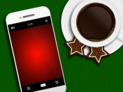 christmas coffee, gingerbread and mobile phone