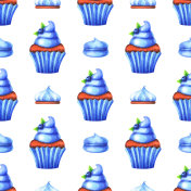 Hand painted seamless pattern with watercolor muffin, cake and marshmallow