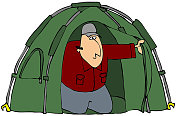 Man Looking Out Of A Tent