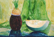 Still life with pumpkin. Watercolor painting