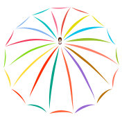 Umbrella painted with colored lines
