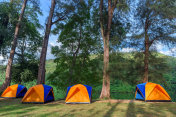 Camping and tent near river with view mountain