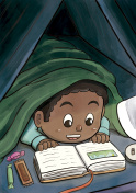 Child Hiding Beneath the Blanket Reading a Picture Book (Black Boy)