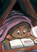 Child Hiding Beneath the Blanket Reading a Picture Book (Black Girl)