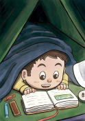 Child Hiding Beneath the Blanket Reading a Picture Book (White Boy)