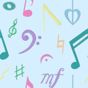 Seamless Music Pattern, Colourful Notation Blue