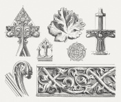 Gothic ornaments, wood engravings, published in 1876
