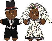 Gingerbread Cookie Bride Wearing Wedding Dress and Groom In Tux