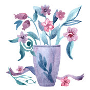 Cute watercolor hand painted vase with spring flowers