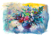 Flowers, still life,oil painting, chamomile in a vase.