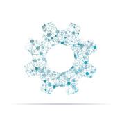 Complex network cog icon