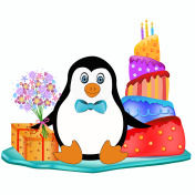 penguin with cake, flowers and present
