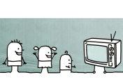 Cartoon kids watching TV