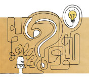 Cartoon man with question mark maze and light bulb
