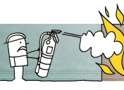 Cartoon fireman with fire extinguisher