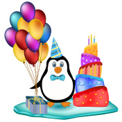 penguin with cake, balloons and cake