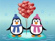 penguin couple love concept
