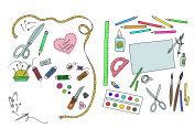 a graphical illustration of the items for sewing, arts and craft