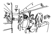 bus passengers inside a bus freehand sketch