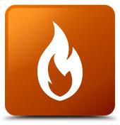 Fire flame icon brown square button