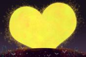 Happy Valentine's Day, The Love Moon Fantastic Cartoon Style Artwork