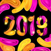 2019 New Year Greeting Card on Dark Background