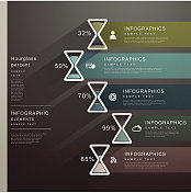 abstract hourglass banner infographics