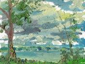 painting landscape with tree