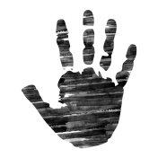 Silhouette hand digital ink painting