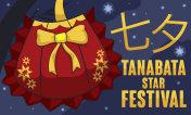 Starry Night and Traditional Kinchaku for Tanabata or Star Festival