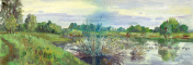 spring landscape with flood painting