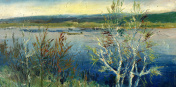 landscape with birches painting
