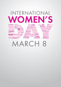 International Women's Day title with a word cloud forming the word Day in pink and violet colors