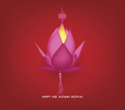 Chinese mid autumn festival geometrical background. Lotus lantern