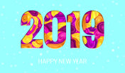 2019 New Year on Light Blue Background with Snowflakes