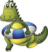 crocodile with a lifebouy