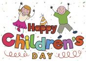 Happy Pair of Kids Celebrating Children's Day